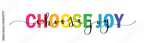 CHOOSE JOY vector rainbow-colored mixed typography banner with interwoven brush Poster Mural XXL