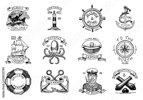 Marine and nautical emblems Tapéta, Fotótapéta