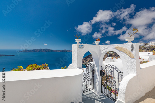 Fototapeta Beautiful terrace in Santorini with breathtaking view. Luxury vacation and summer travel background. Urban, street details. Amazing blue sky and white architecture obraz