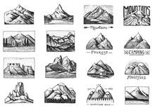 Mountain Peaks Badges. Set Of ...