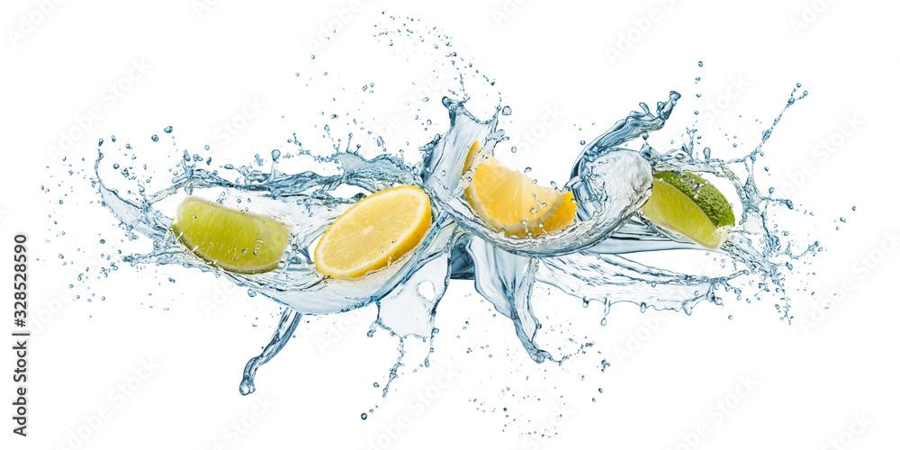 Fototapeta splashing of water waves with lemon slices, isolated on white