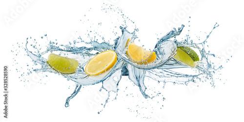 Fotografie, Obraz splashing of water waves with lemon slices, isolated on white