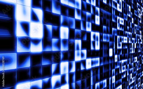青色の近未来的なスクエアグラデーション Canvas Print