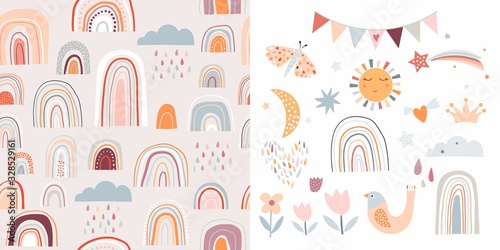 Childish set with rainbows, seamless pattern and cute elements, decorative desig Wallpaper Mural