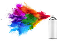 Spray Can Spraying Colorful Ra...
