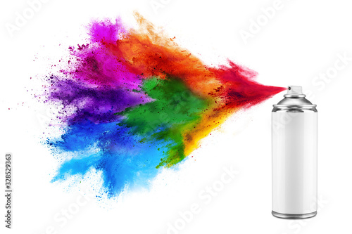 Photo spray can spraying colorful rainbow holi paint color powder explosion isolated white background