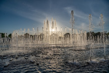 Park Fountain At Sunset