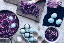 Dyed Easter Eggs With Red Cabbage