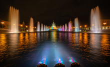 Illuminated Night Fountain