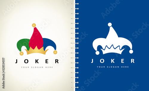 Jester hat logo. Joker costume. Carnival cap. Fotobehang