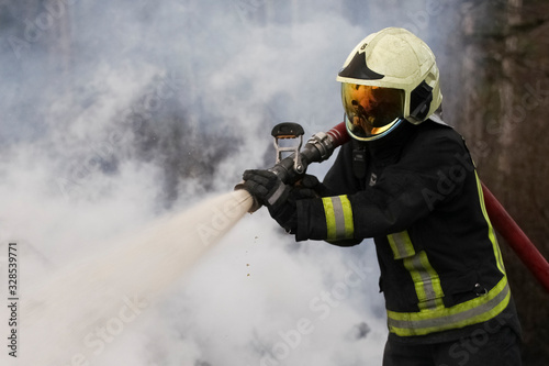 Brave firefighter saving burning building Wallpaper Mural