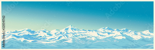 Canvastavla Mountain winter landscape with white peaks of mountains of illustration of a panoramic type