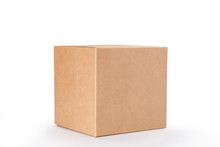 Brown Cardboard Box Isolated On White Background With Clipping Path. Suitable For Food, Cosmetic Or Medical Packaging.