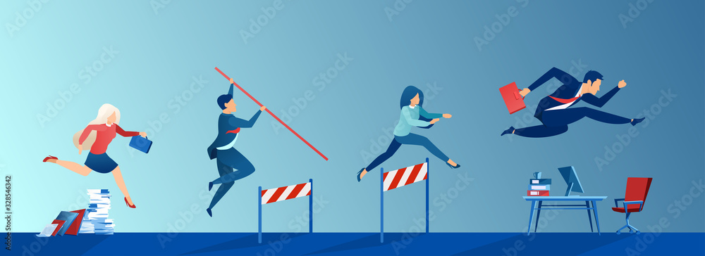 Fototapeta Vector of business people conquering adversity, overcoming obstacles