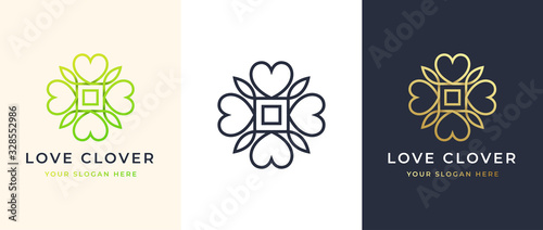 Abstract Four Leaf love clover logo design Fototapete