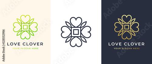 Canvas Print Abstract Four Leaf love clover logo design