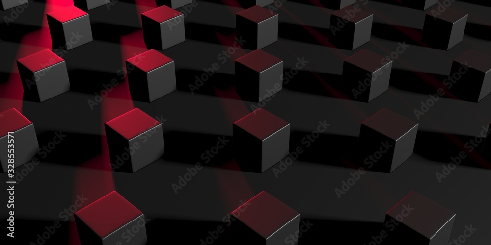 Fototapeta Abstract Dark Cubes Futuristic Design Background