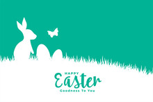 Happy Easter Flat Style Card With Rabbit On Grass