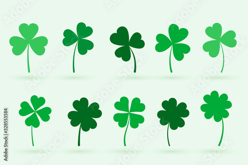 Fototapeta set of ten clover leaves in flat style