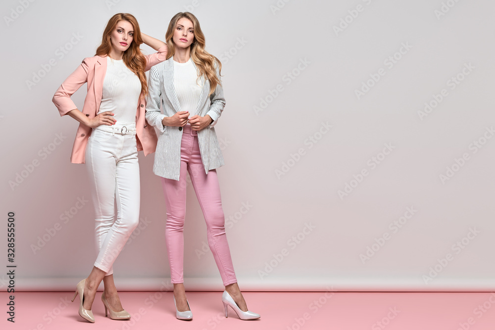 Fototapeta Fashion. Two beautiful woman, stylish clothes, trendy hair, make up. Well dressed model girl, friends on blue. Slim fashionable blonde, redhead lady in pink fashion jacket, skinny, beauty concept.