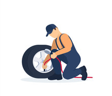 Mechanic Checking Air Pressure. Check Wheel In Service. Vector Illustration In Flat Style.