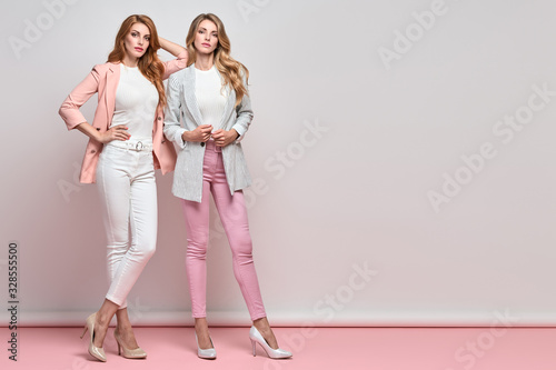 Fashion. Two beautiful woman, stylish clothes, trendy hair, make up. Well dressed model girl, friends on blue. Slim fashionable blonde, redhead lady in pink fashion jacket, skinny, beauty concept.