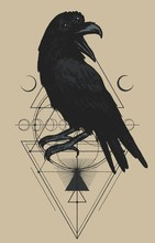 Three Eyed Raven Occult Illustration. T-shirt Print With Magic Bird And Geometric Shapes And Moons.