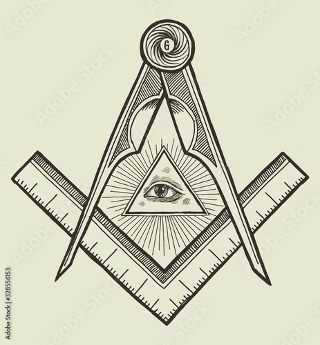 Square and compasses and an eye of providence Slika na platnu