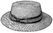 Boater Cloche, Straw Hat Illustration, Drawing, Engraving, Ink, Line Art, Vector