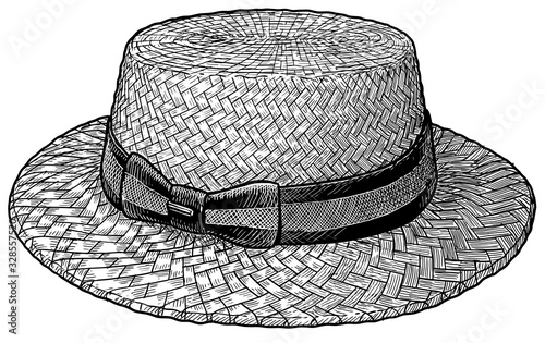 Boater cloche, straw hat illustration, drawing, engraving, ink, line art, vector Canvas Print
