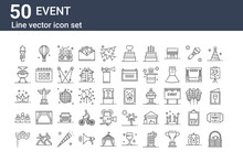 Set Of 50 Event Icons. Outline...