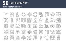 Set Of 50 Geography Icons. Outline Thin Line Icons Such As Lens, Worldwide, Park, Backpack, Binoculars, Night, Waves