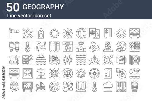 set of 50 geography icons Tablou Canvas