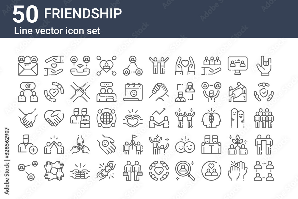Fototapeta set of 50 friendship icons. outline thin line icons such as community, share, add friend, hands, conversation, protect, develop