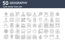 Set Of 50 Geography Icons. Out...