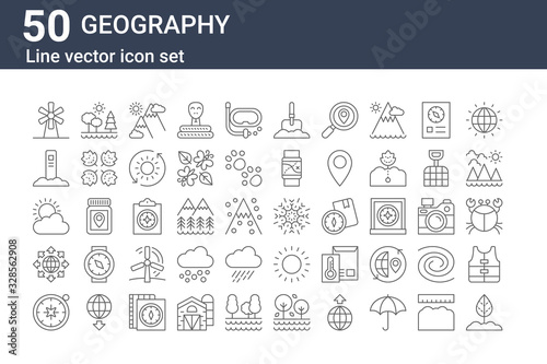 Fotografie, Obraz set of 50 geography icons