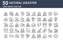 Set Of 50 Natural Disaster Ico...