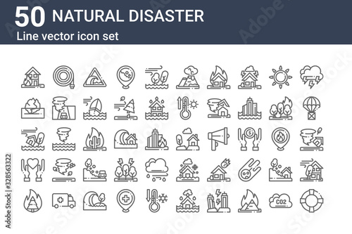set of 50 natural disaster icons Fototapete