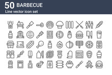 Set Of 50 Barbecue Icons. Outl...