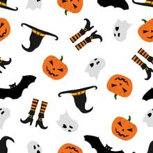 Halloween Pattern With Pumpkin...