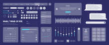 Ultimate Web UI UX Elements Collection Flat Kit For Mobile Applications And Web: Icons And Forms, Button And Check Box. Universal User Interface Template With Responsive Design On Blue Background