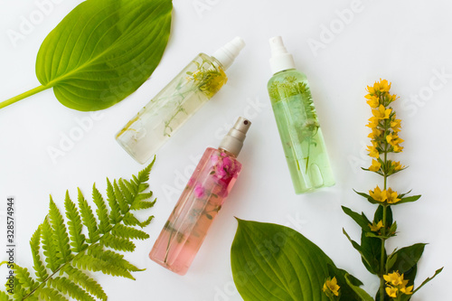 Fototapeta Cosmetic bottles of green, yellow, pink oil with herbal leaves on white background. Natural organic cosmetics obraz