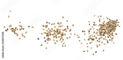 Valokuva Set hemp seeds isolated on white background, top view