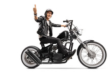Cool Mature Biker In Leather Clothes Riding A Chopper And Showing Thumb Up