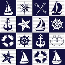 Chess Board Seamless Marine Pattern. Squares With Nautical Elements