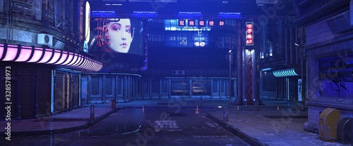 Blue neon night in a city of a future. Photorealistic 3d illustration of the futuristic street in the style of cyberpunk. Grunge urban landscape. - 328578973