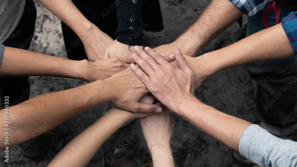 Fototapeta Group of volunteer people holding hands gogether in teamwork, team, unity, support and helpping concept.