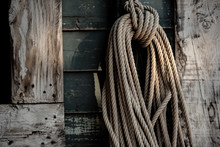 Roll Of Rope Hanging On The Wo...