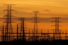 Energy Sub Station Sillouted Against A Sunset In South Africa