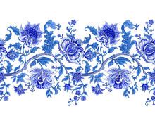 Seamless Border With Decorative Baroque Flowers